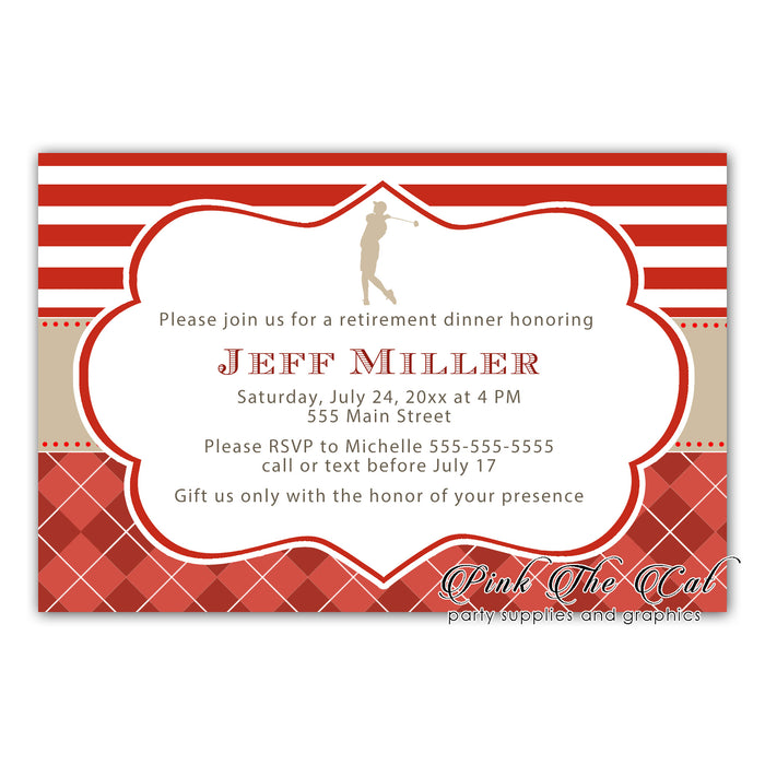 Golf invitation red gold (set of 30)