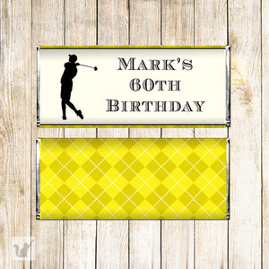 30 Candy bar wrappers golf yellow black adult birthday favors