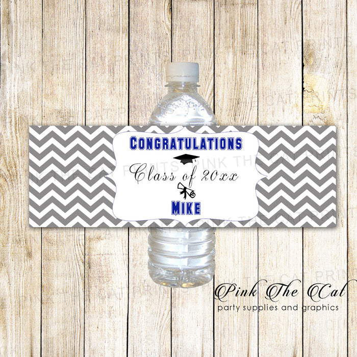 Grey Navy Blue Graduation Party Bottle Label Printable