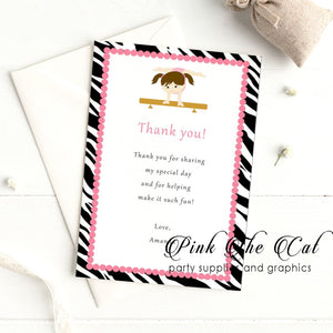 Gymnastics zebra thank you card printable