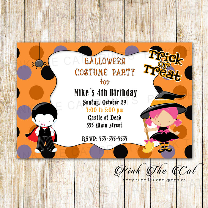 Halloween Invitation Kids Birthday Party Wizard Dracul