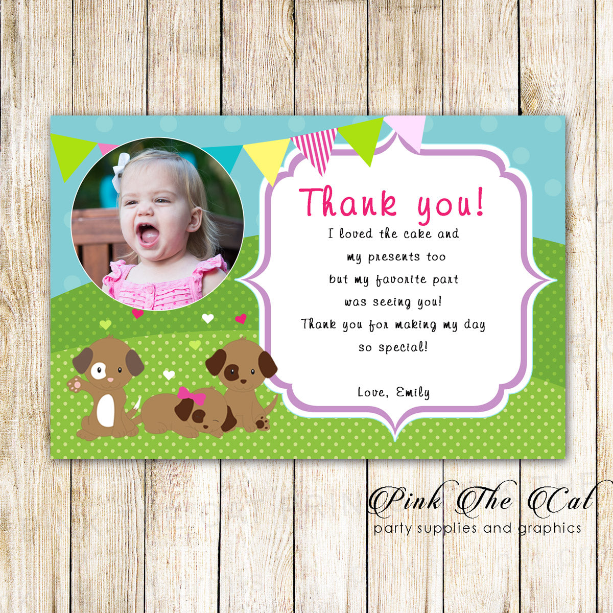 30 Puppy Thank You Cards Girl Birthday Pawty With Photo Pink The Cat
