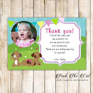 30 Puppy thank you cards girl birthday pawty with photo