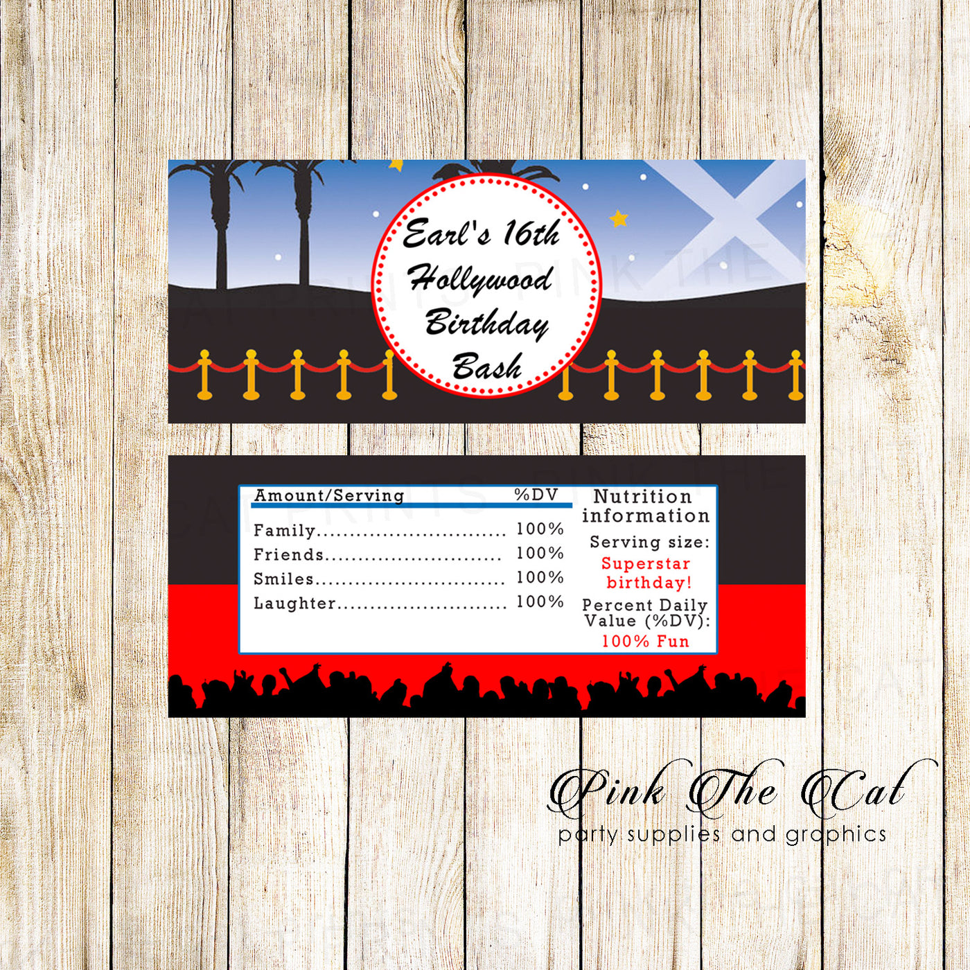 Candy Bar Wrappers Hollywood Red Carpet Birthday Party Printable