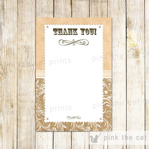Burlap Jute Vintage Thank You Card Note Wedding Birthday Bridal Shower