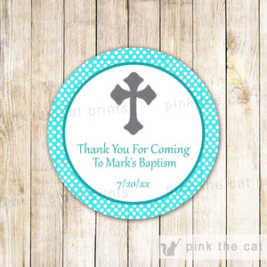 Turquoise Grey Christening Baptism Communion Label Sticker Tag