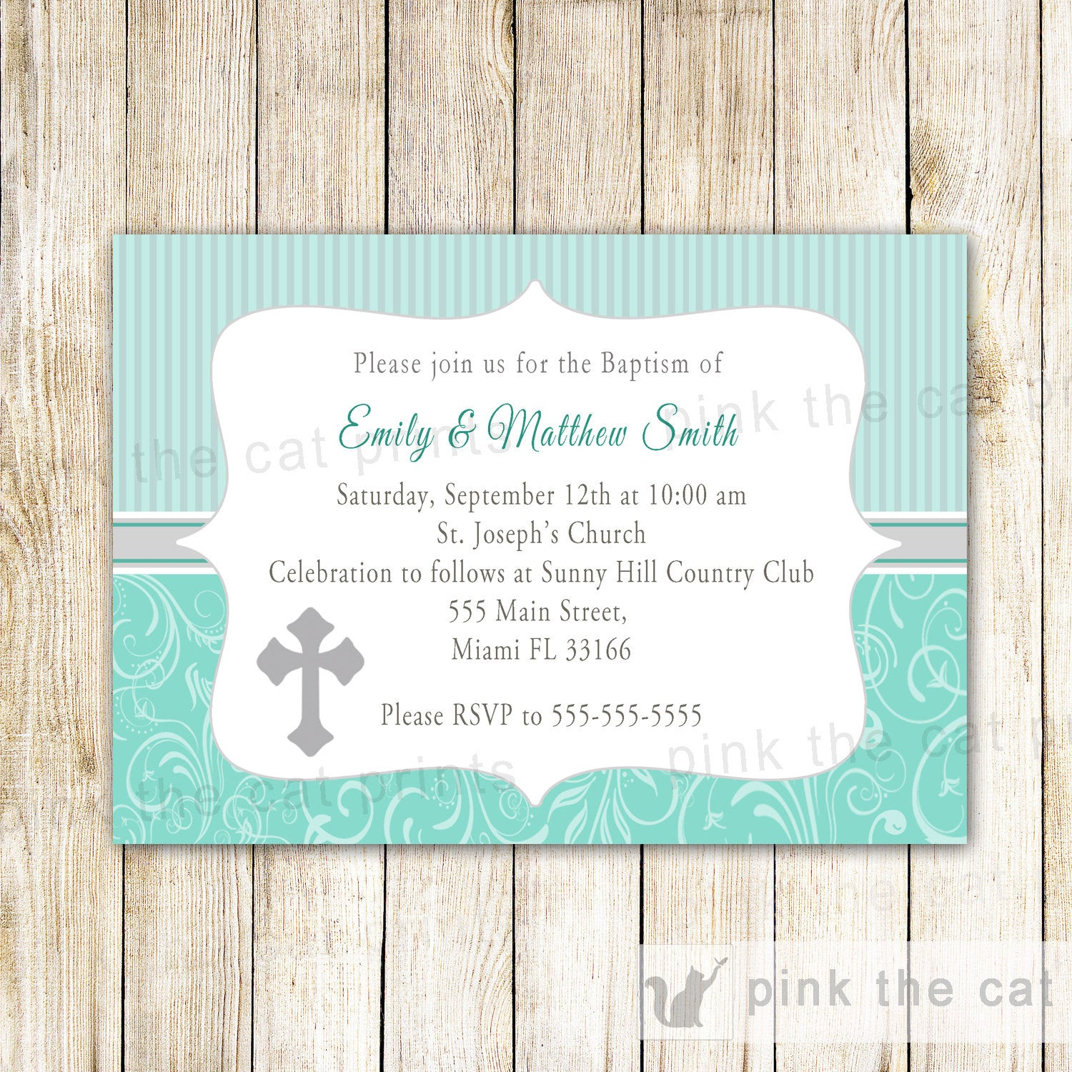 Twins Baptism Invitation Turquoise Silver Girl Boy Christening ...