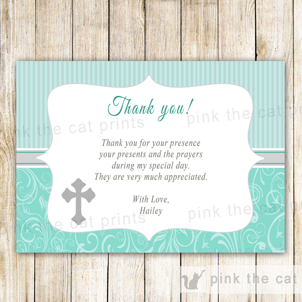 Baptism Chistening Thank You Card Note Teal Grey