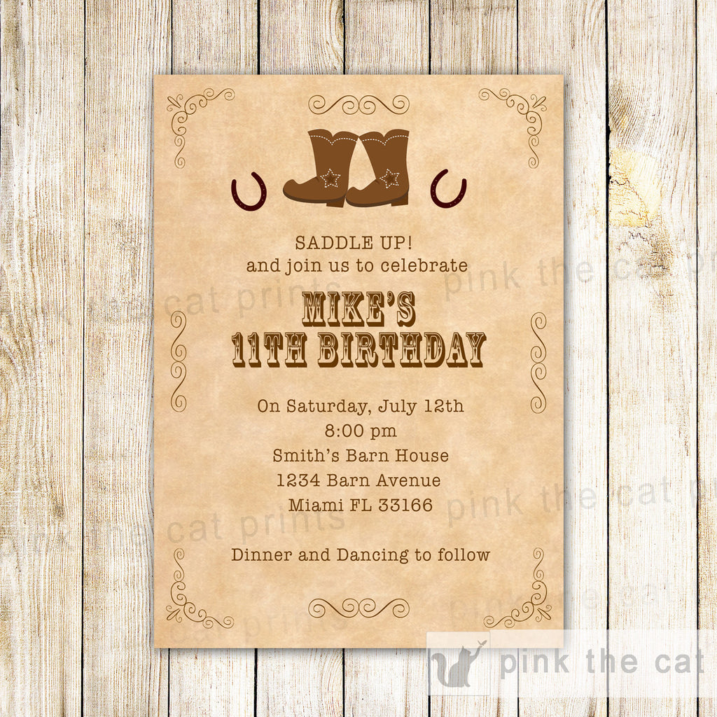 cowboy boots birthday invitation