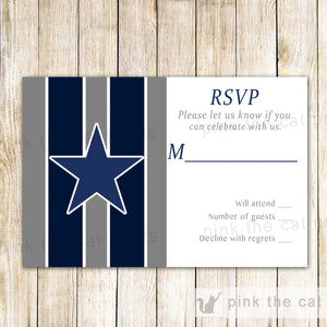 American Football Gray Blue RSVP Card Printable
