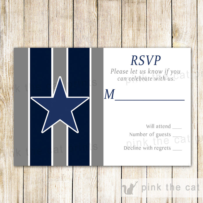 American Football Gray Blue RSVP Card