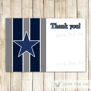 Star Thank You Card - Kids Birthday Party Notes Baby Boy Shower Blue Grey Stripes Sports Printable INSTANT DOWNLOAD