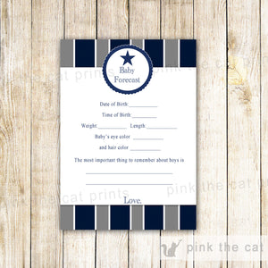 Baby Shower Games Wishes for Baby Bingo Forecast Card Sports Star Blue