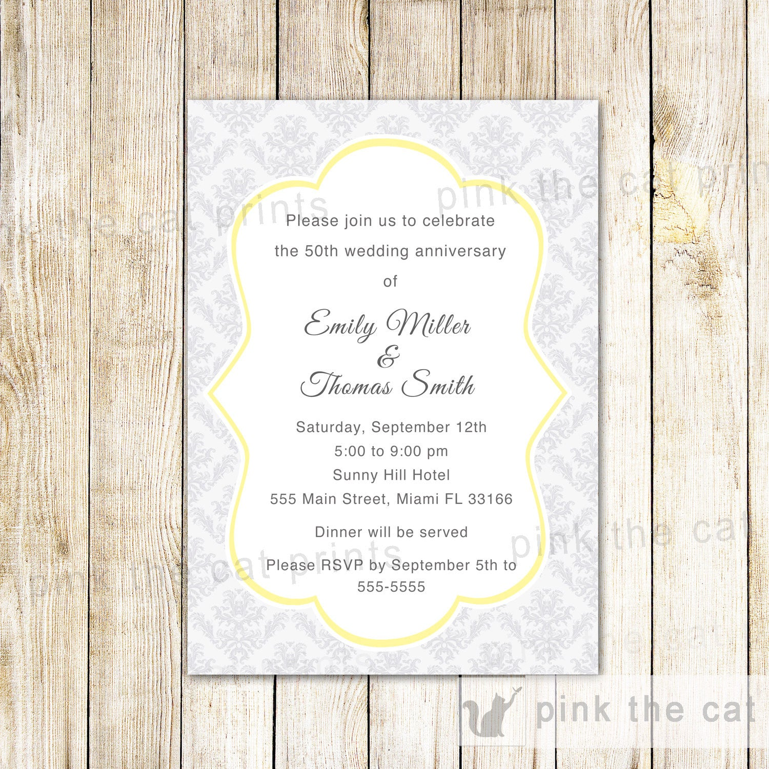 50th Wedding Anniversary Invitation Gold Silver Damask – Pink The Cat