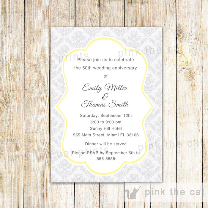 50th Wedding Anniversary Invitation Gold Silver Damask