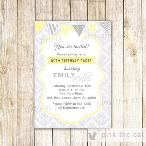 Adult Birthday Invitation Gold Silver Damask