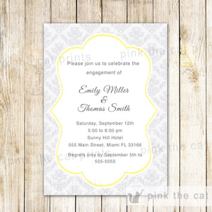 damask silver engagement invitation