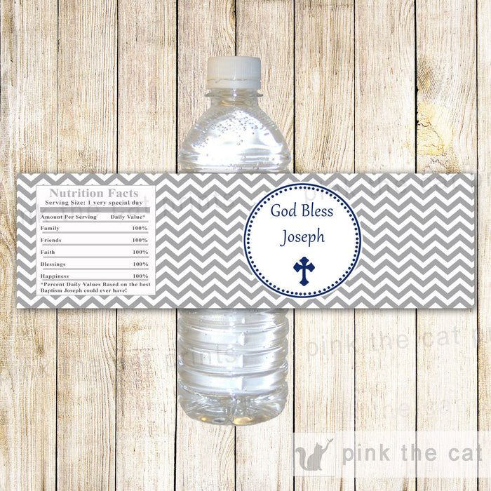 Boy Baptism Christening Bottle Label Grey Navy