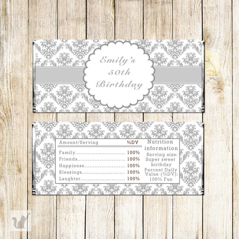 Adult Birthday Bridal Shower Candy Bar Label Wrapper Grey