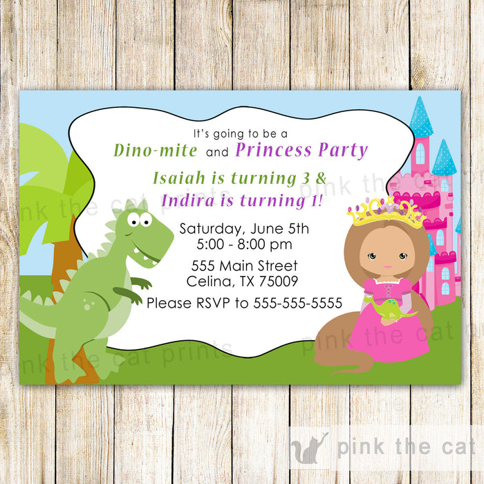 Dinosaur Princess Invitation Kids Birthday Party