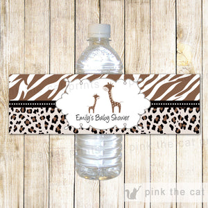 Brown Giraffe Baby Shower Bottle Label