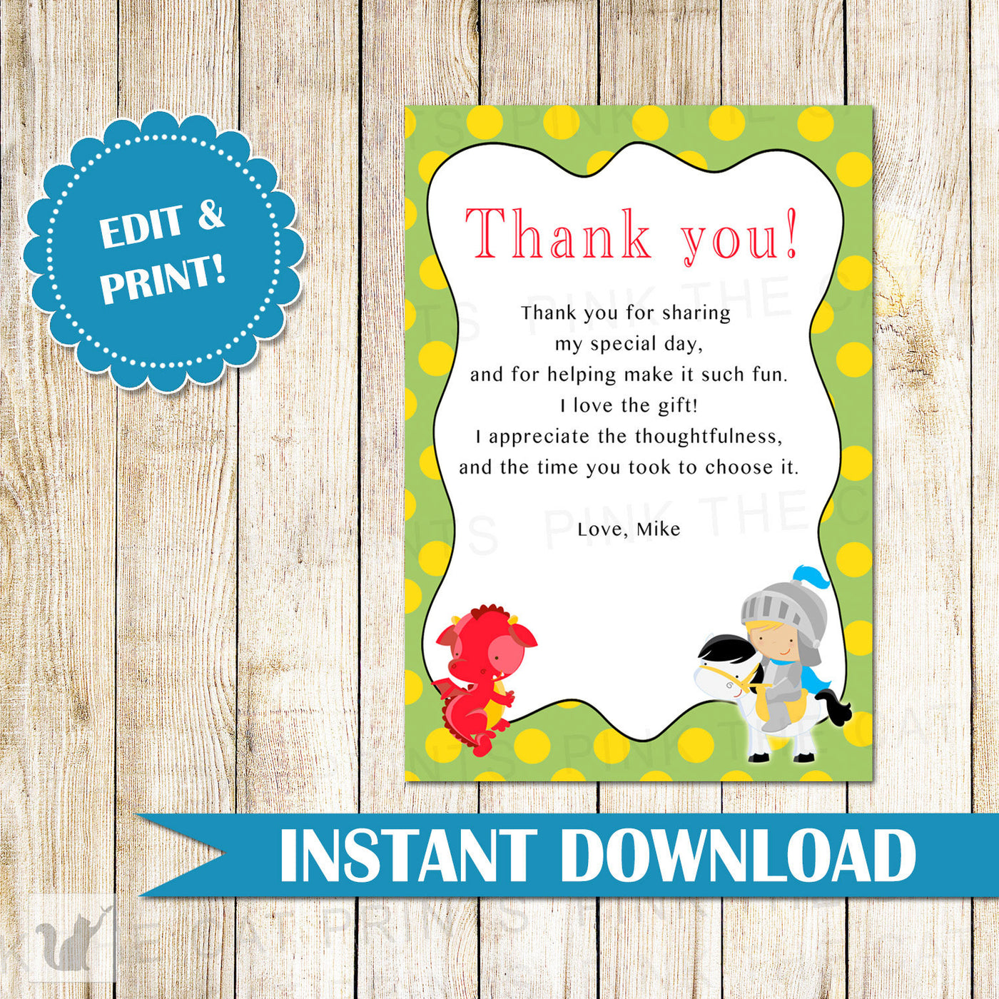 Knight Dragon Thank You Card Note Birthday Party Baby Boy Shower