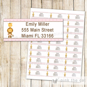 Jungle Address Labels - Pink Brown Safari Animals Kids Birthday Baby Girl Shower Return Address Labels Sticker Editable INSTANT DOWNLOAD