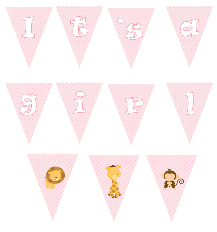 Pink Jungle Flag Banner Birthday
