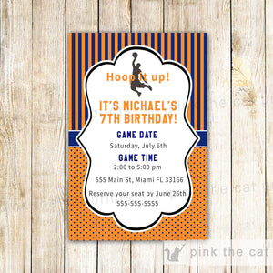 orange blue basketball invitation
