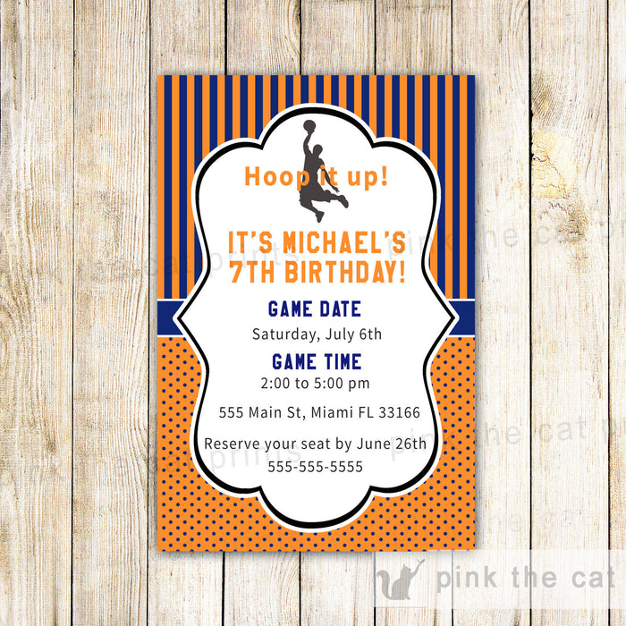 Basketball Invitation Card Orange Blue Birthday Baby Boy Shower