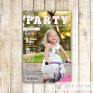 Magazine Photo Invitation Girl Boy Birthday Party