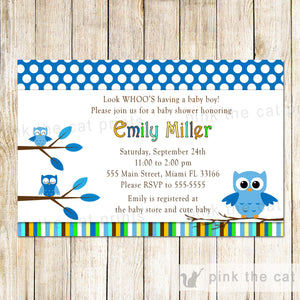 owl invitation blue white