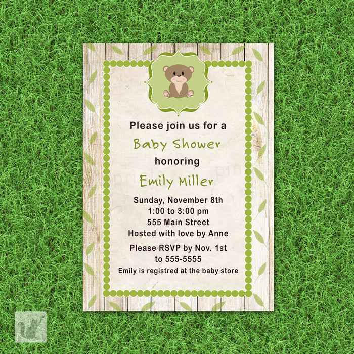 Bear Invitation Forest Baby Shower Birthday Party