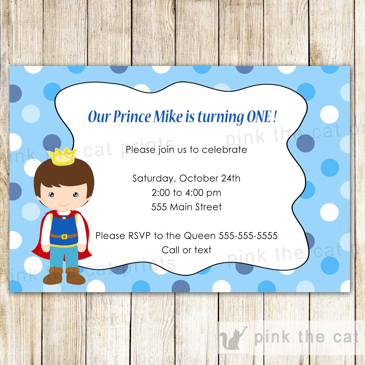 Prince invitation boy birthday baby shower blue pink the cat prince birthday invitation filmwisefo