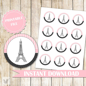INSTANT DOWNLOAD Paris Labels Gift Favor Tags Baby Girl Shower Kids Birthday Eiffel Tower Pink Black Party Decoration Printable File