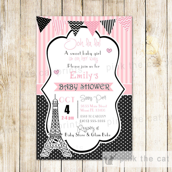 Paris Invitation Baby Girl Shower Birthday Tower Eiffel