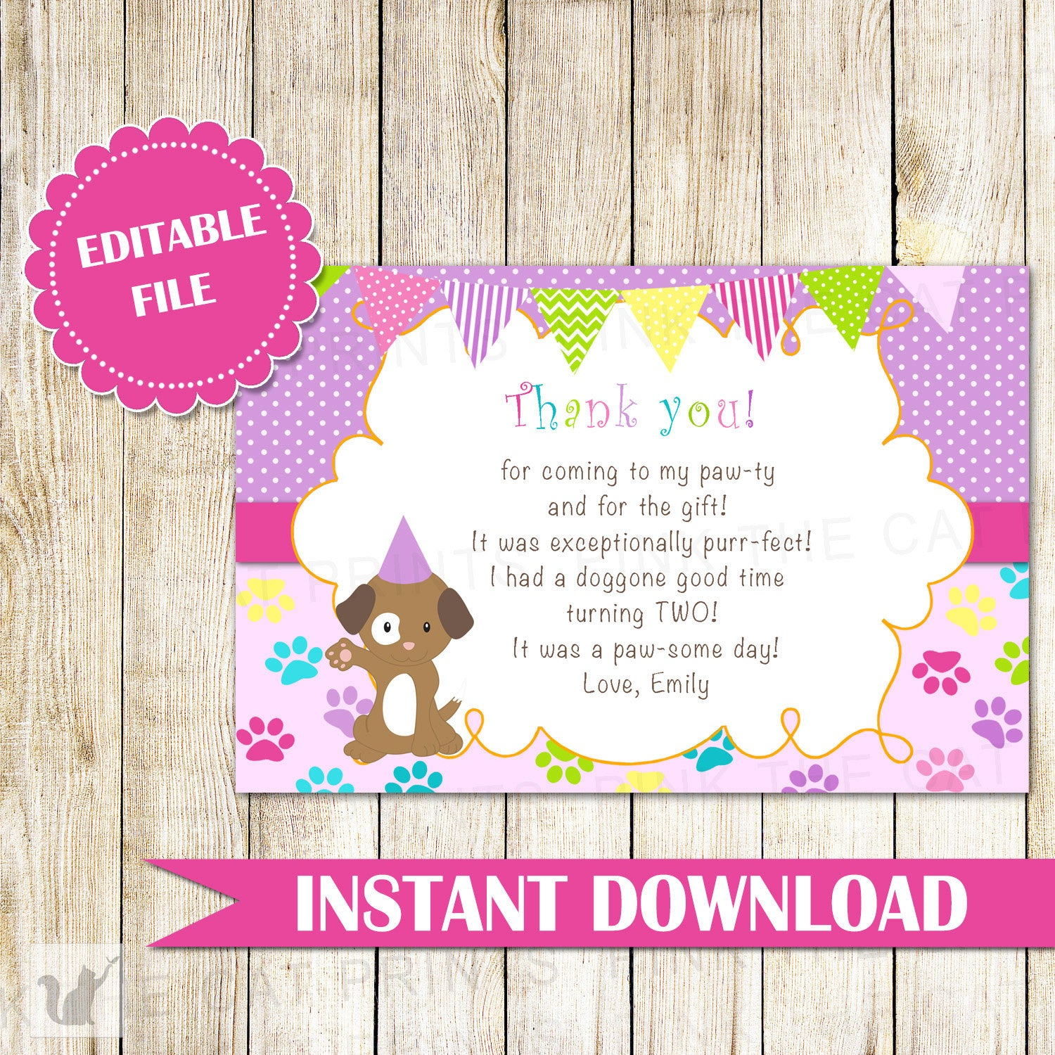 Puppy pawty thank you card note kids birthday girl purple puppy pawty thank you card note kids birthday girl purple bunting banner fun greeting card printable editable file instant download kristyandbryce Choice Image