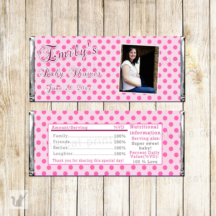 Baby Shower Photo Candy Bar Wrapper Label Pink