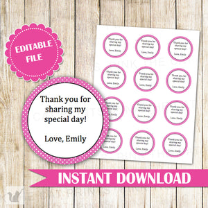 Polka Hot Pink Label - Gift Favor Tag Birthday Baby Girl Shower Printable Editable File INSTANT DOWNLOAD