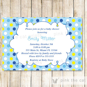 Baby Boy Shower Invitation Blue Yellow