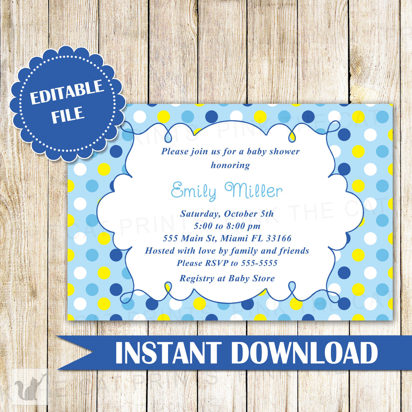 Baby Boy Shower Invitation Blue Yellow Pink The Cat