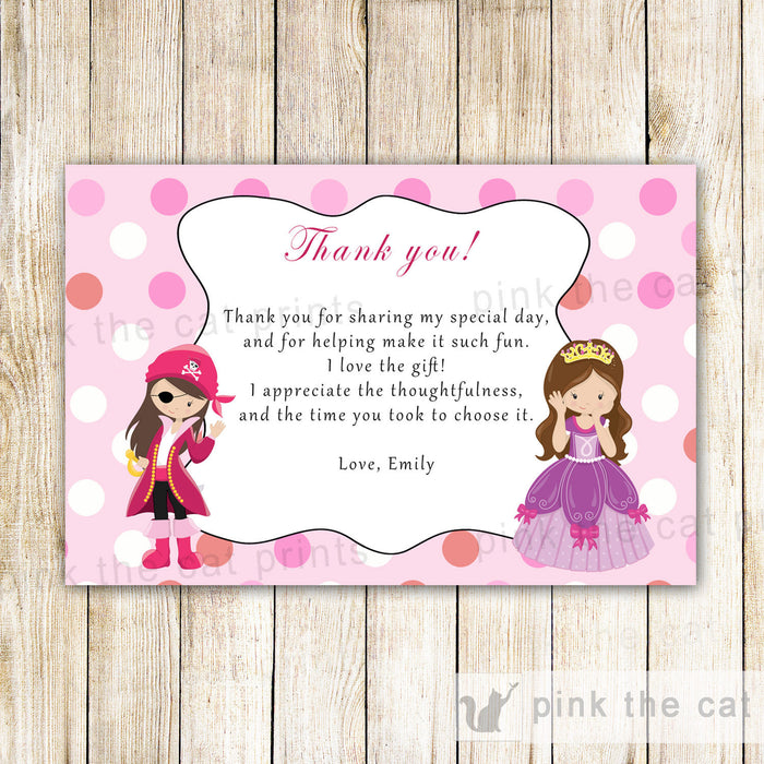 Pirate Princess Thank You Card Note Girl Birthday Party