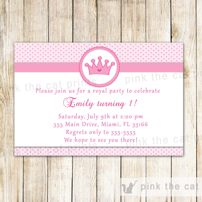Princess Invitation Girl Birthday Baby Shower Pink Polka Dots