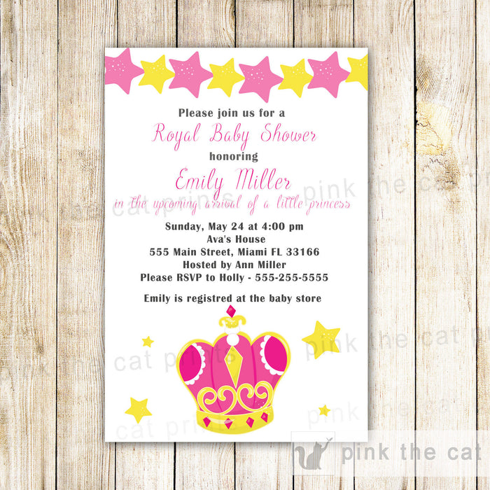 Princess Invitation Baby Girl Shower Birthday Pink Stars