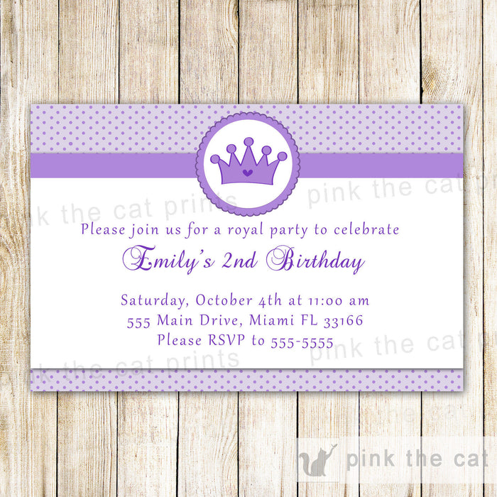 Princess Invitation Girl Birthday Baby Shower Purple Dots