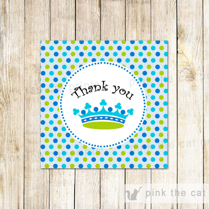 INSTANT DOWNLOAD New Little Prince Baby Shower Labels Thank You Tags - Polka Dots Party Favors Decorations Blue Green Crown Square