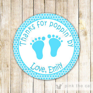 Thanks For Poppin By Favor Label Tag Sticker Baby Shower Turquoise