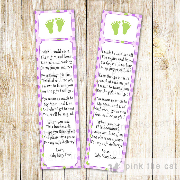 Bookmark Favor Baby Girl Shower Purple Green