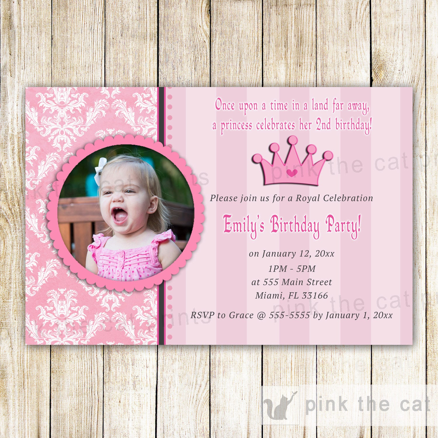 Princess Invitation Girl Birthday Photo Card Pink Damask The Cat
