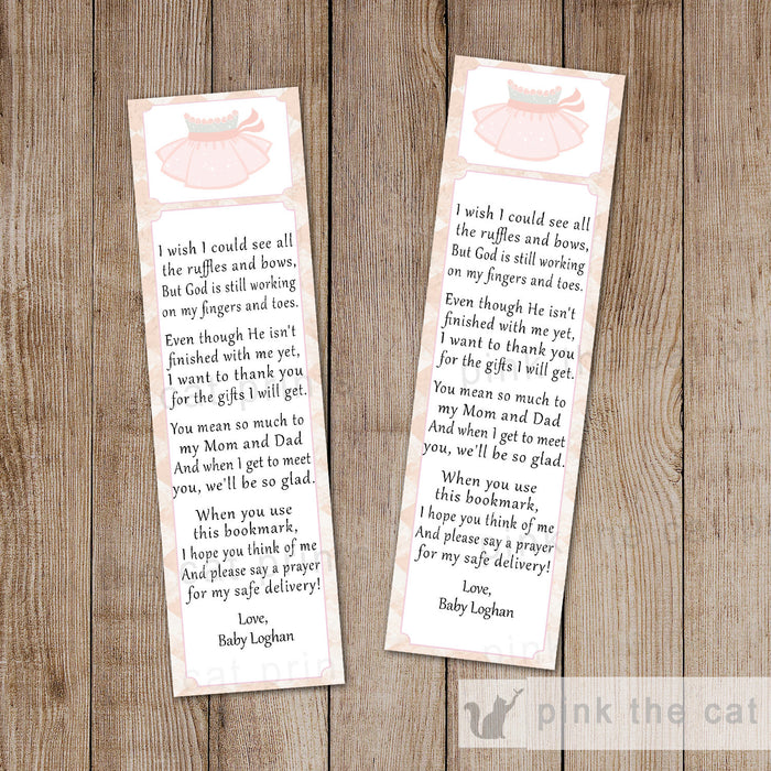Tutu Bookmark Favor Ballerina Baby Girl Shower